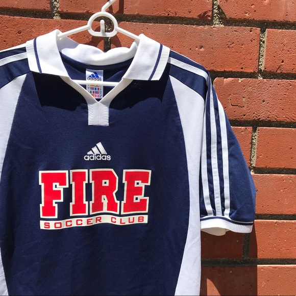 info for ff624 794a5 Vtg Adidas Chicago Fire Blue MLS 3-Stripe Jersey